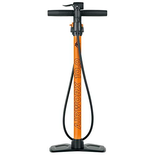 SKS GERMANY AIRWORX 10.0 - Pompa da terra per bicicletta con valvola multivalva, pompa ad aria con manometro di precisione e tubo ad alta pressione, pressione massima: 10 bar / 144 PSI), arancione