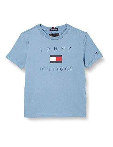 Tommy Hilfiger TH Logo tee S/s Camisa, Vintage Denim, 7 para Niños