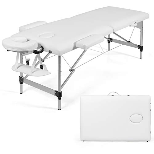 "Giantex 84"" Massage Table Professional Portable Massage Bed, 2 Folding Lightweight Massage Bed, Aluminum Frame, Height Adjustable, Face Cradle & Side Armrests, Salon Spa Tattoo Bed with Carry Case"