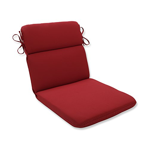"""Pillow Perfect Outdoor/Indoor Pompeii Round Corner Chair Cushion, 40.5"""" x 21"""", Red"""