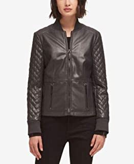 DKNY Womens Black Faux Leather Quilted Jacket US Size: L