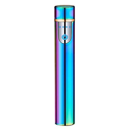 XINJIA Isqueiro elétrico recarregável por USB, tela sensível ao toque, de tungstênio, sem chama, recarregável, corta-vento
