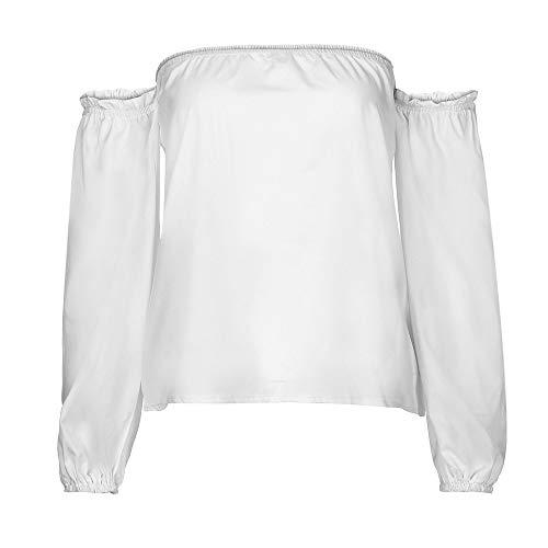 OSYARD Damen EIN Wort Kragen Bluse Tops, Frauen Lange Laterne HüLse Solid Slash Neck Bluse Tops (L, Weiß)