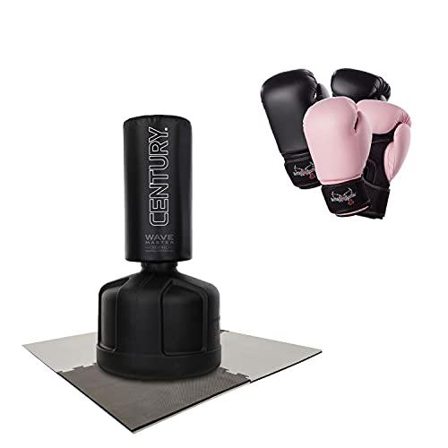 Century Standboxsack Original Wavemaster Bundle inkl. 2X Boxhandschuhe & Unterlegmatte, freistehender Boxsack-Ständer, Trainingsgeräte Boxpartner einstellbar, Heavy Duty Boxing Dummy Erwachsene
