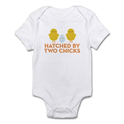 CafePress Hatched by Two Chicks Infant Bodysuit Cute Infant Bodysuit Baby Romper Cloud White