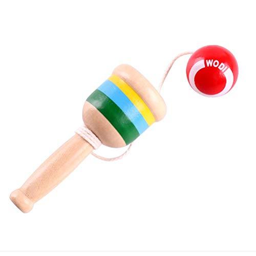 YeahiBaby Holz KendamaSpielzeug Ballspiel Fangspiel mit Ball Fang den Ball Wurfspiel Kindergeburtstag Mitbringsel für Kinder Junge (Rot)