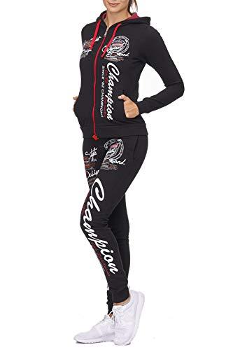 Damen Jogginganzug Champion 673 (S-fällt größer aus, Schwarz-Rot)