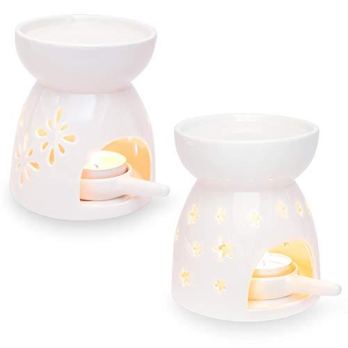 Ligano Duftlampe aus Keramik – Aromalampe mit Teelicht-Halter – Große Wasserschale für Lange Brenndauer – Blumen und Sterne Muster (2er Set)