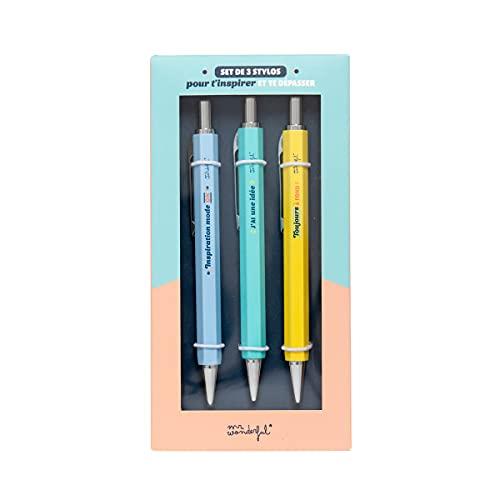 Set de 3 bolígrafos para inspirarte y exceder