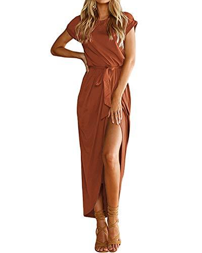 YOINS Sommerkleid Damen Lang Maxikleider für Damen Strandkleid Sexy Kleid Kurzarm Jerseykleider Strickkleider Rundhals mit Gürtel Langarm,EU36-38/S,Kaffee