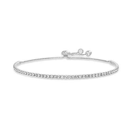 MIA SARINE Sterling Silver 2mm Round Crystal Adjustable Bolo Slider Tennis Bracelet for Women made with Crystals white