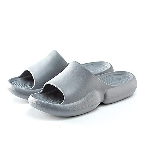 QPPQ Zapatillas de almohada antideslizantes para hombre y mujer, ligeras, cómodas zapatillas de moda, para verano, antiarena, gris 9-9.5, para piscina, gimnasio, casa