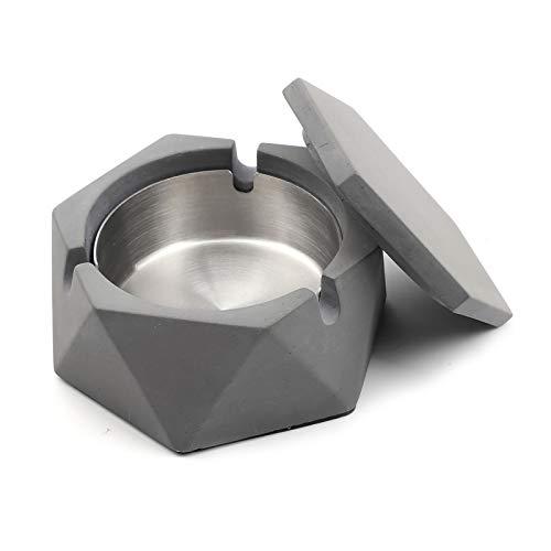 Posacenere in calcestruzzo con coperchio geometrico portacenere per sigarette, posacenere esterno con vassoio interno in acciaio inox stile nordico