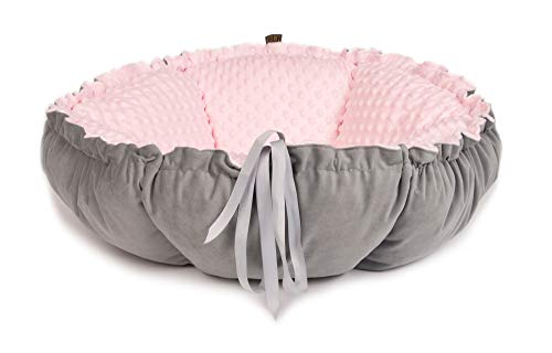 Lauren Design Luxus Rund Flauschig Hundebett & Katzenbett | Waschbar Zweifarbig Hundeliege für Kleine und Mittlere Hunde Exklusive Faltbar Kissen Tierbett (Velour Rosa)