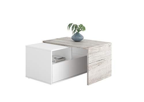 FMD furniture Couchtisch, Spanplatte, Weiß/Sandeiche Nb, ca. 80-154 x 45 x 50 cm