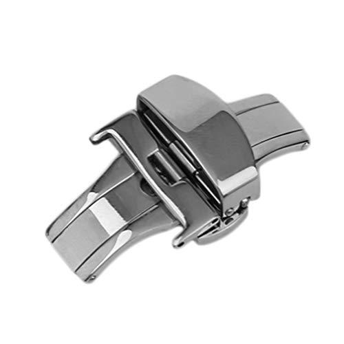 CandyTT Hebilla de Reloj de Metal Universal de 18 mm / 20 mm / 22 mm Duradera para Usar Accesorios de Reloj con Cierre desplegable de Mariposa Plegable Doble (silver18mm)