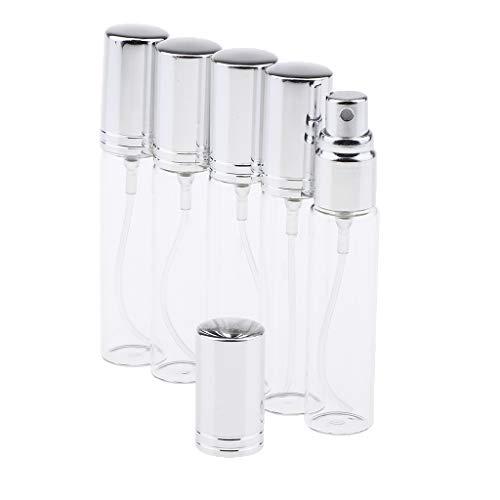 SM SunniMix 5 x 10 ml Flacon de Parfum Verre Mini Bouteille Pompe Vide pour Voyage - Argent