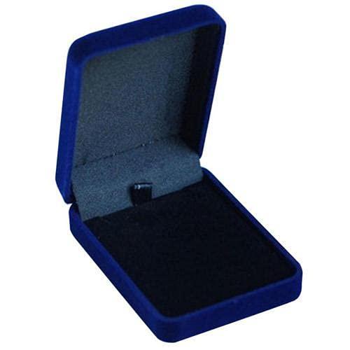 Collar de terciopelo Accesorios Contenedor Regalo Caja de Exhibición Anillo Pulsera Caja de Almacenamiento - Azul