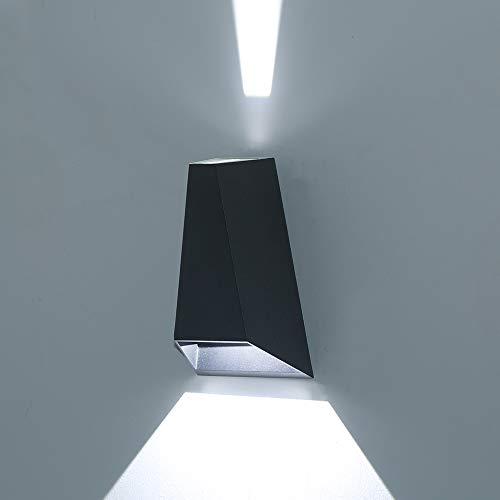 HLFVLITE LED Aussenleuchte Wandlampe Up & Down-Effekt Außenwandleuchte Aluminiumdruckguss Wandleuchte Aussen Innen für Garten Terrasse, 6W 6000K Kaltweiß, Wasserdicht IP54 [Energieklasse A+]