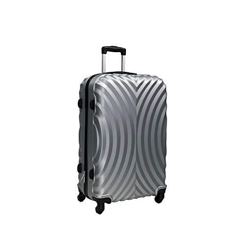 Totò Piccinni Set Valigie Trolley Ibiza con guscio rigido di ottima qualità con 4 rotelle pivotanti (Silver, L, 77x50x28)