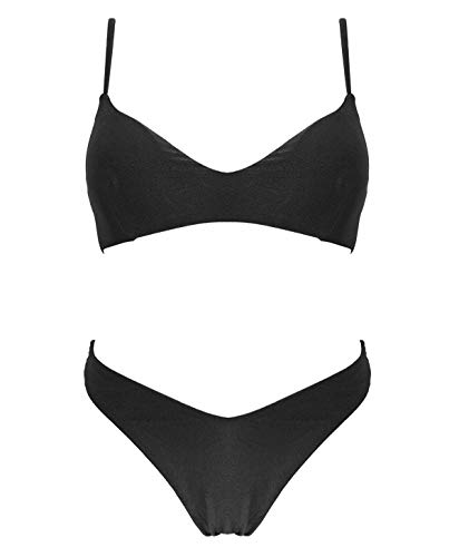 PF Damen Bikini Set mit Spaghettiträgern Zweiteiliger Glitzer Badeanzug XXS-M Badeanzug Italienisches Design (8187-Black, XXS)