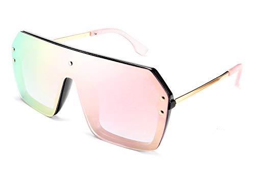 FEISEDY Classic Siamese One Piece Sunglasses Nice Rimless Stylish Retro Design for Women Men B2574