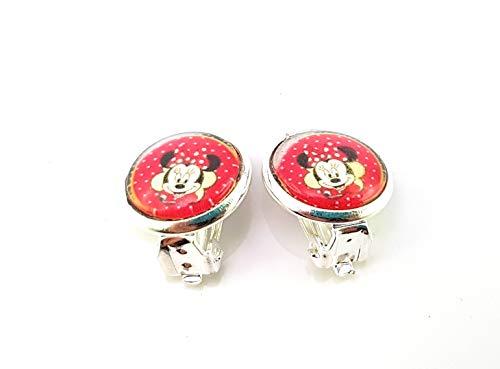 Stechschmuck Ohrclips Handmade Minnie Maus Rot Silber Farben Ohrklemmen Damen Kinder Kitsch Kawaii 14mm 1 Paar Nickelfrei