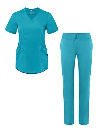 Adar Pro Core Classic Scrub Set for Women - Tailored V-Neck Scrub Top & Tailored Yoga Scrub Pants - P9100 - Teal Blue - M