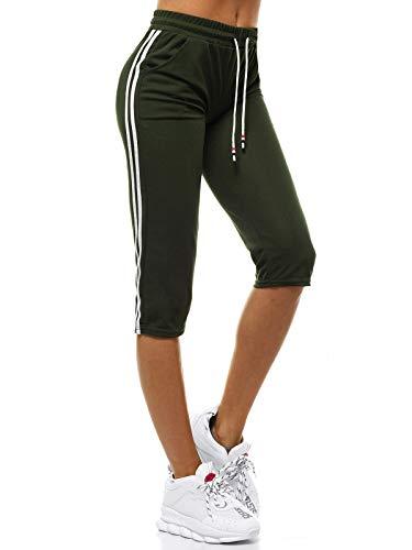 OZONEE Damen Sporthose Kurz Shorts Sweatpants Trainingshose Kurze Hose Bermuda Sportshorts Jogginghose Freizeithose Sweatshorts Damenhose Sport Capri Caprihose JS/1021/D7 Khaki XL