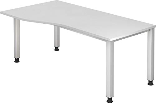 bümö® höhenverstellbarer Schreibtisch | Büroschreibtisch Profiqualität | Bürotisch in 6 Dekoren & 7 Varianten verfügbar (Weiß, Freiform: 180x100 cm)
