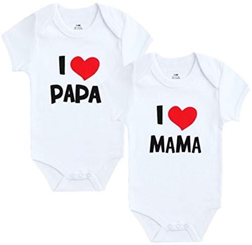 Unbekannt 2er Pack Baby Body weiß I Mama & I Papa Größe 0-9 Monate (3-6 Monate)