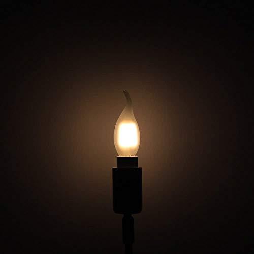10er-Pack 4W Dimmbar LED Lampe in Kerzenform mit E14 Fassung,Ersetzt 40 Watt,LED Filament Kerze Birne Windstoß Matt Warmweiß 2700K - 6