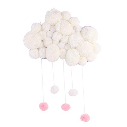 VORCOOL Colgante Decoracion con Bola de Pelo Móvil Decorativo Adornos de Habitacion Infantil Decoraciones de Pared para Bebe Blanco