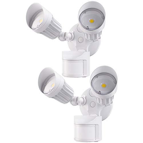 LEONLITE LED Security Light with Motion Sensor, Dual Head LED Outdoor Flood Light, 20W(150W Equiv.), IP65 Waterproof, ETL Listed, 3000K Warm White, White, Pack of 2