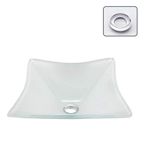 NANXCYR Artistieke badkuip-handgemaakt aquateriaal modern gehard glas voor badkamer toilet Vanity Bowl bad met pop-up-drain combo en montagering