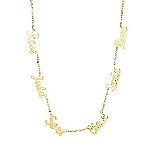 Collana con nome Collana personalizzata per la famiglia Collana con incisione Collana unisex Natale per donna(Oro 18)