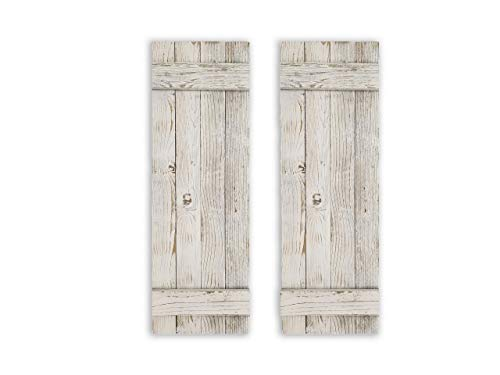 Rustic White DECORATIVE ONLY Barn Wood Shutter Set Of 2 For Wall Decor, Window Accents - Add That Touch of Barn Wood Style and Rustic Decor To Any Room - Great for Home Decor and Rustic Decor