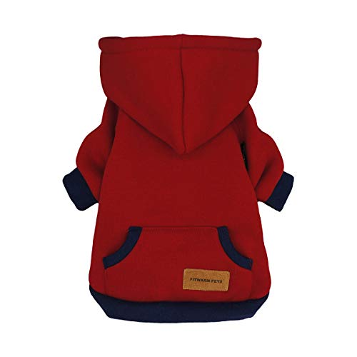Fitwarm Pet Clothes Dog Hoodies Puppy Pullover Cat Hooded Shirts Sweatshirts Red Large