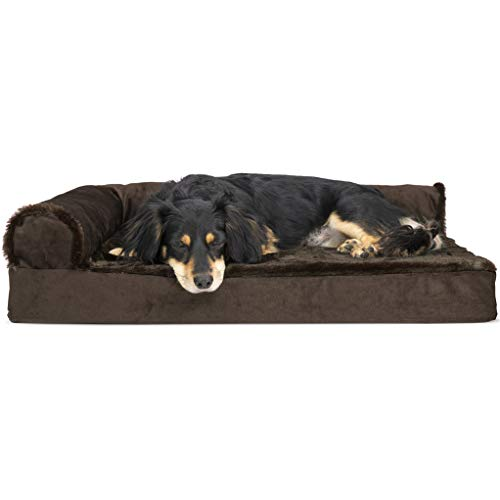 Furhaven Pet Dog Bed - Deluxe Orthopedic Plush Faux Fur & Velvet L Shaped Chaise Lounge Living Room Corner Couch Pet Bed w/ Removable Cover for Dogs & Cats, Sable Brown, Medium