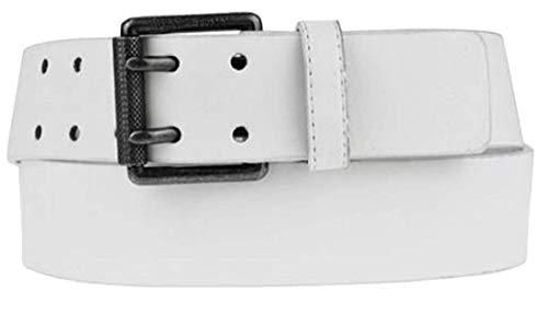 VEN TOMY Gürtel Herren-gürtel Damen-Gürtel edel hochwertiges Optik-Leder 4,8 cm breit Design viele Farben Doppeldorn-Schnalle 5008 (Weiß, 135 cm)