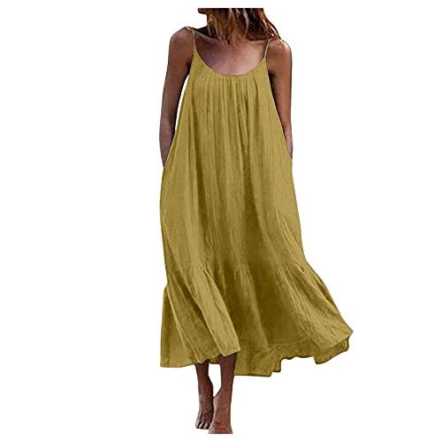 """Damen Kleider Summer, Frauen Tropical Solid Halfter Rückenloses Maxikleid Sexy Ã""""rmelloses Strandkleid Freizeitkleider Cocktailkleid Partykleid Maxikleid CNOM 2510"""