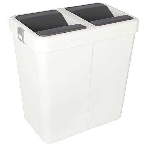Jolie Max Double Rubbish Waste Separation Bin Recycling. Dual Compartment 80L (2 x 40 L) (White)