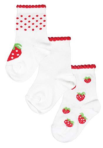 ROGO Strümpfe Damen Socken von ROGO im 3er Pack Erdbeeren mit farbigem Kräuselrand weiß, 19-22