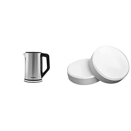 Gastroback 42436 Design Wasserkocher Cool Touch, doppelwandiger Edelstahl-Behälter 1,5 Liter, 2.200 Watt, 18/8, 1.5 liters, silber, schwarz & 97830 Reinigungstabs