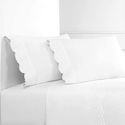 Melange Home Percale Cotton Double Scalloped Embroidered QN Sheet Set Queen White on White product image