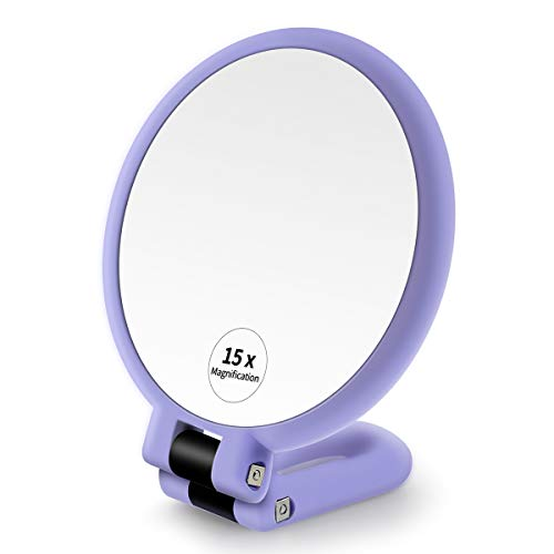 1x 15x Magnifying Hand Held Mirror ,Double Side Folding Magnification Hand Mirror for Women with Adjustable Handle ,Travel Table Desk Shaving Bathroom (Purple