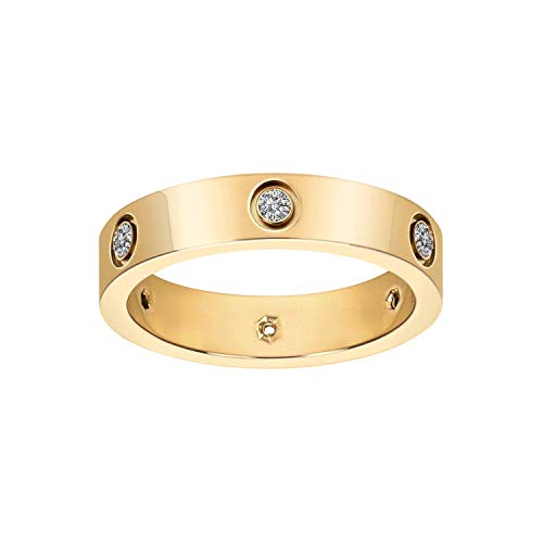 Fashion Classic 18K Gold Plated Titanium Steel Women Ring Best Gifts Couples Valentine's Day (Gold, 7)