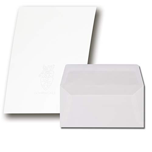50 Sets Gohrsmühle Feinstpapier mit abgepasstem Wasserzeichen - Weiß Matt DIN A4 - Umschläge DIN Lang gefüttert mit hellgrauem Seidenpapier 80 g/m²