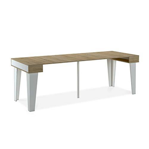Home Innovation - Table Console Extensible, rectangulaire avec rallonges, Nordic KL jusqu'à 237 cm, Style Scandinave pour Salle à Manger et séjour, Blanc Mat - Chêne brossé. Jusqu´à 10 Personnes