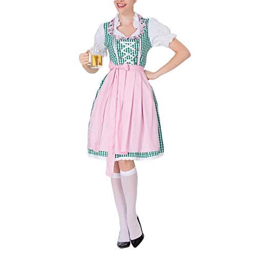 Halloween Lady Halloween Oktoberfest Bier-Mädchen Undifferenzierte Bayerische Innere Kostüm Bar Kellner Arbeitskleidung Kostüm (Color : A, Size : XL)